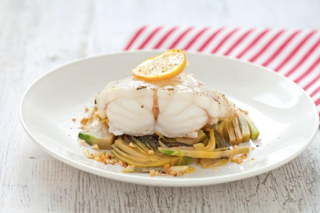 Ricetta pescatrice al limone con carciofi cucchiaio d for Ricette con carciofi