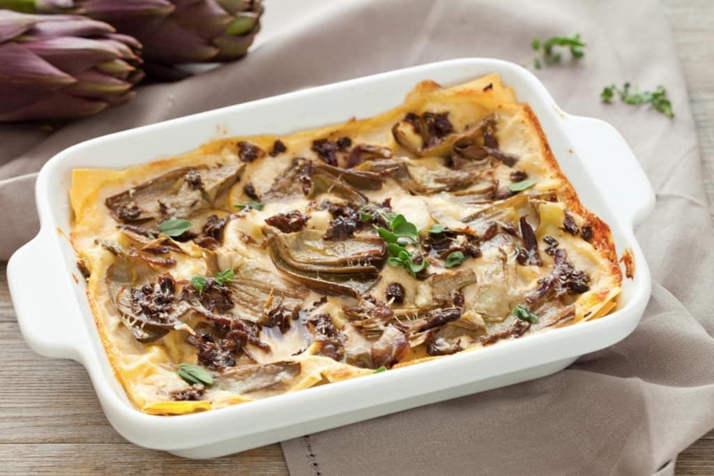 Ricetta lasagne ai carciofi e funghi cucchiaio d 39 argento for Ricette con carciofi