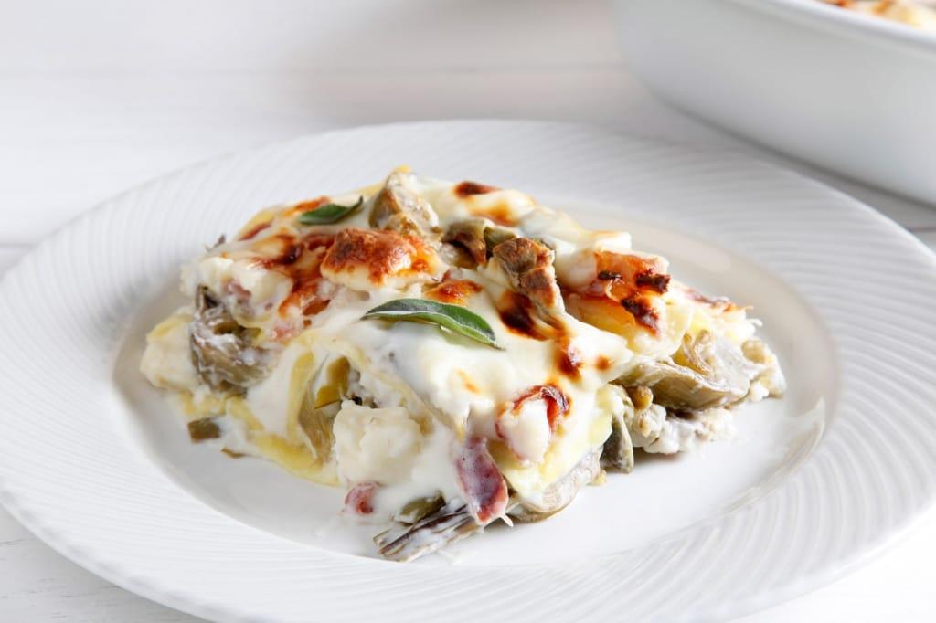 Ricetta lasagne ai carciofi taleggio e pancetta for Ricette con carciofi