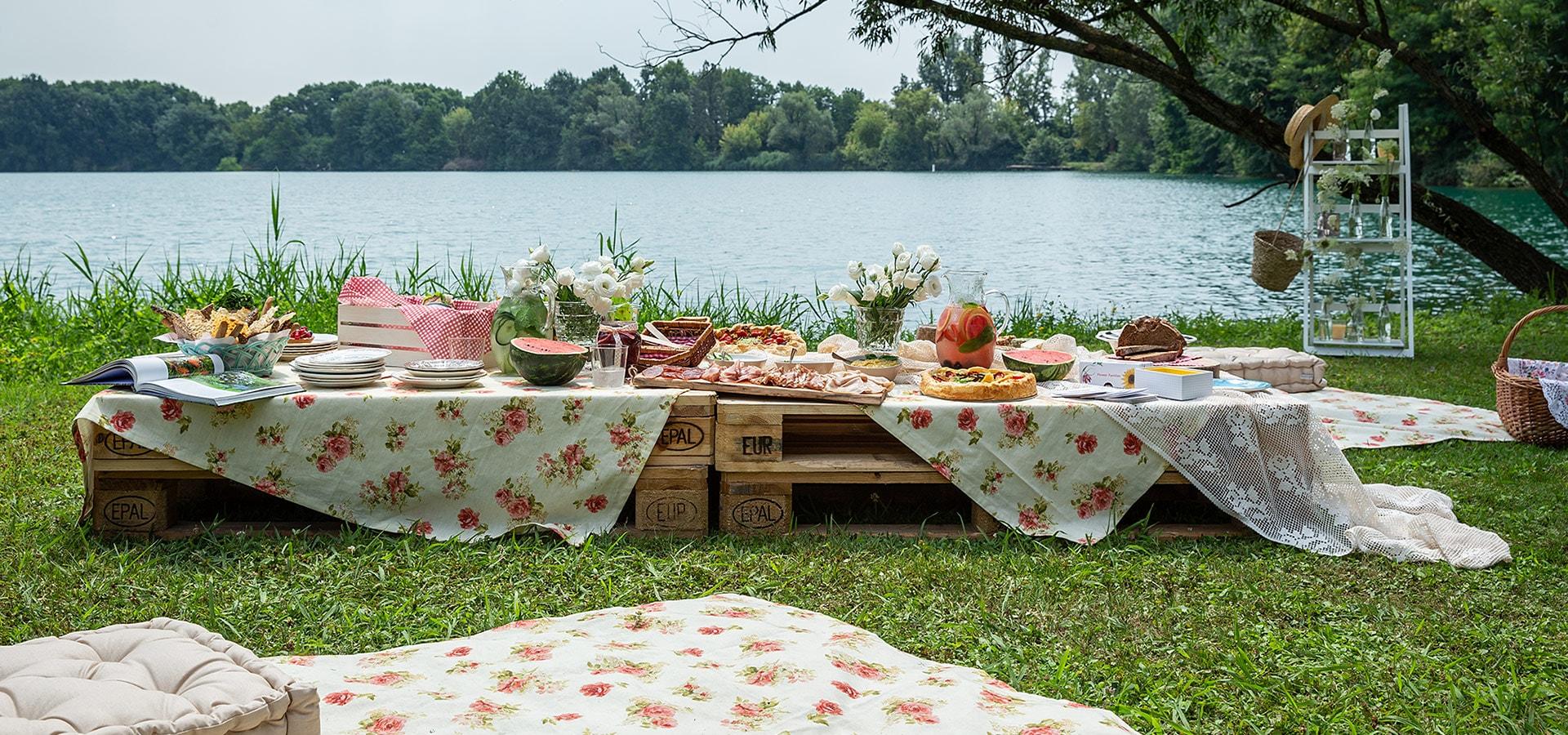 Picnic vintage sul lago