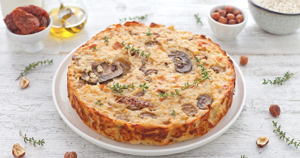 [VIDEO]Torta di riso ai funghi, pomodori secchi e scamorza